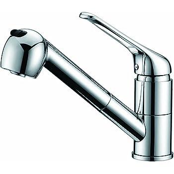 洗面台蛇口 混合水栓 キッチン用 台付き(1穴) シングルレバー混合栓 ホース引き出し式 整流 シャワー切り替え可能 サテンメッキ KFPOY011