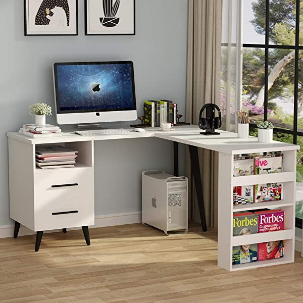 L Shaped Desk Tribesigns Modern Corner Computer Desk Study Writing Table Workstation With Drawers Bookshelf For Home Office Use