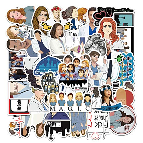 TV Grey's Anatomy Stickers for Water Bottles 50 Pack Cute,Waterproof,Aesthetic,Trendy Stickers for Teens,Girls Perfect for Waterbottle,Laptop,Phone,Travel Extra Durable Vinyl (Grey's Anatomy)