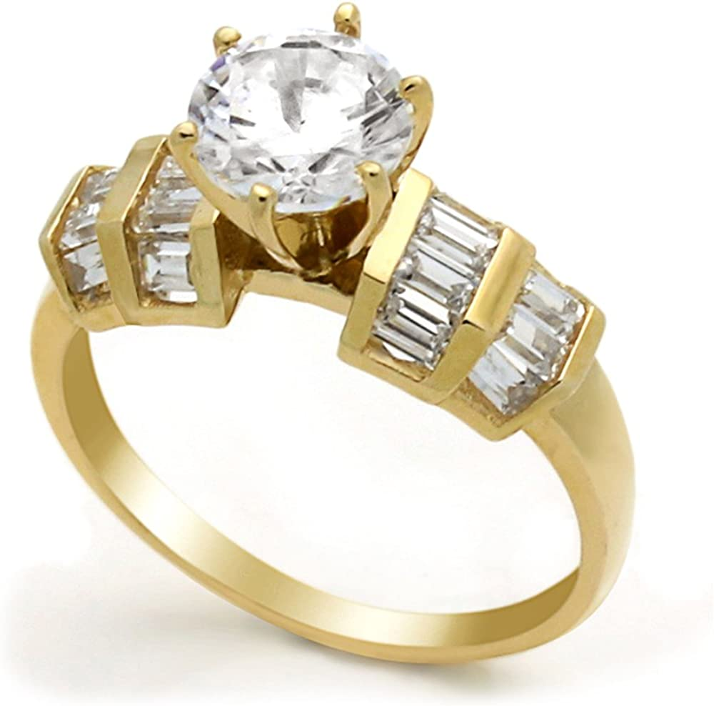 14K Yellow Gold 2 Max 87% OFF Carat Round Baguette E Setting CZ Band Wedding Sales results No. 1