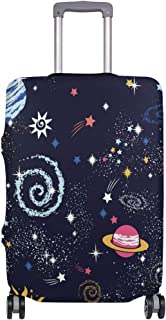 Mydaily Space Galaxy Doodle Luggage Cover Fits 24-26 Inch Suitcase Spandex Travel Protector M