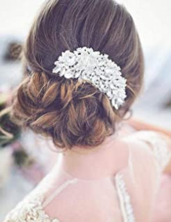 Deniferymakeup Bridal Comb Floral Silver Crystal Leaf Bridal Hair Comb Vintage Inspired Hairpiece Bridal Hair Accessories Crystal Comb Veil Clip