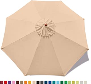 ABCCANOPY 9ft Umbrella Top for Patio/Market Umbrella Replacement Canopy with 8 Ribs(Beige)
