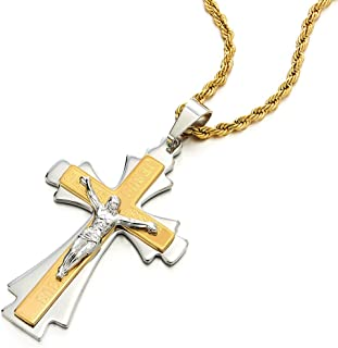 COOLSTEELANDBEYOND Tri-Layer Mens Silver Gold Jesus Christ Crucifix Cross Pendant Necklace, Steel with 30 in Chain