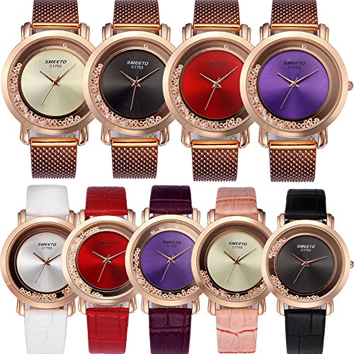 Yunanwa 9 Pack Women Watches Quicksand Rhinestone 5pcs Leather + 4pcs Mesh Brand Wrist Watches Wholesale