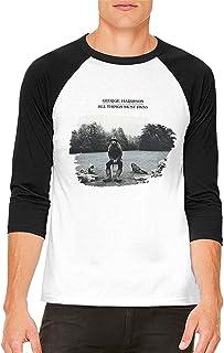 Camisetas de Manga Larga,Hombre,Camisas Casual,Ropa Deportiva,Mens George Harrison All Things Must Pass 3/4 Sleeve Raglan Baseball T Shirts Black