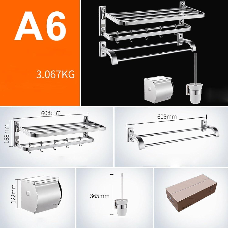 XQY Badregale Badezimmer Handtuchhalter 304 Edelstahl Handtuchhalter Bad Hardware Zubehr Teile Gesetzt,A6,Silber