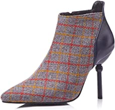 CYBLING Women's Pointed Toe Zip Up Stiletto High Heels Plaid Dress Ankle Booties
