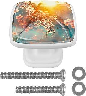 Paquet de 4 boutons d'armoire de cuisine, boutons pour tiroirs de commode Blossom Blooming Tree Sunny Day Flowers printemp...