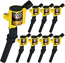 Bravex Ignition Coils for Ford F-150 F-250 F-350 4.6L 5.4L V8 DG508 DG457 DG472 DG491 Crown Victoria Expedition Mustang Lincoln Mercury Set of 8 (Yellow)