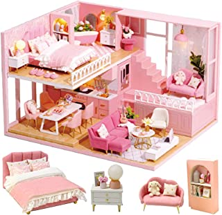 CUTEBEE Dollhouse Miniature with Furniture, Wooden DIY Dollhouse Kit Plus Dust Proof and Music Movement, 1:24 Scale Creative Room Idea (Warm Hours)