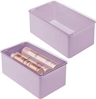 mDesign rangement maquillage empilable – boite maquillage avec couvercle – boite en plastique pour un rangement des cosmét...