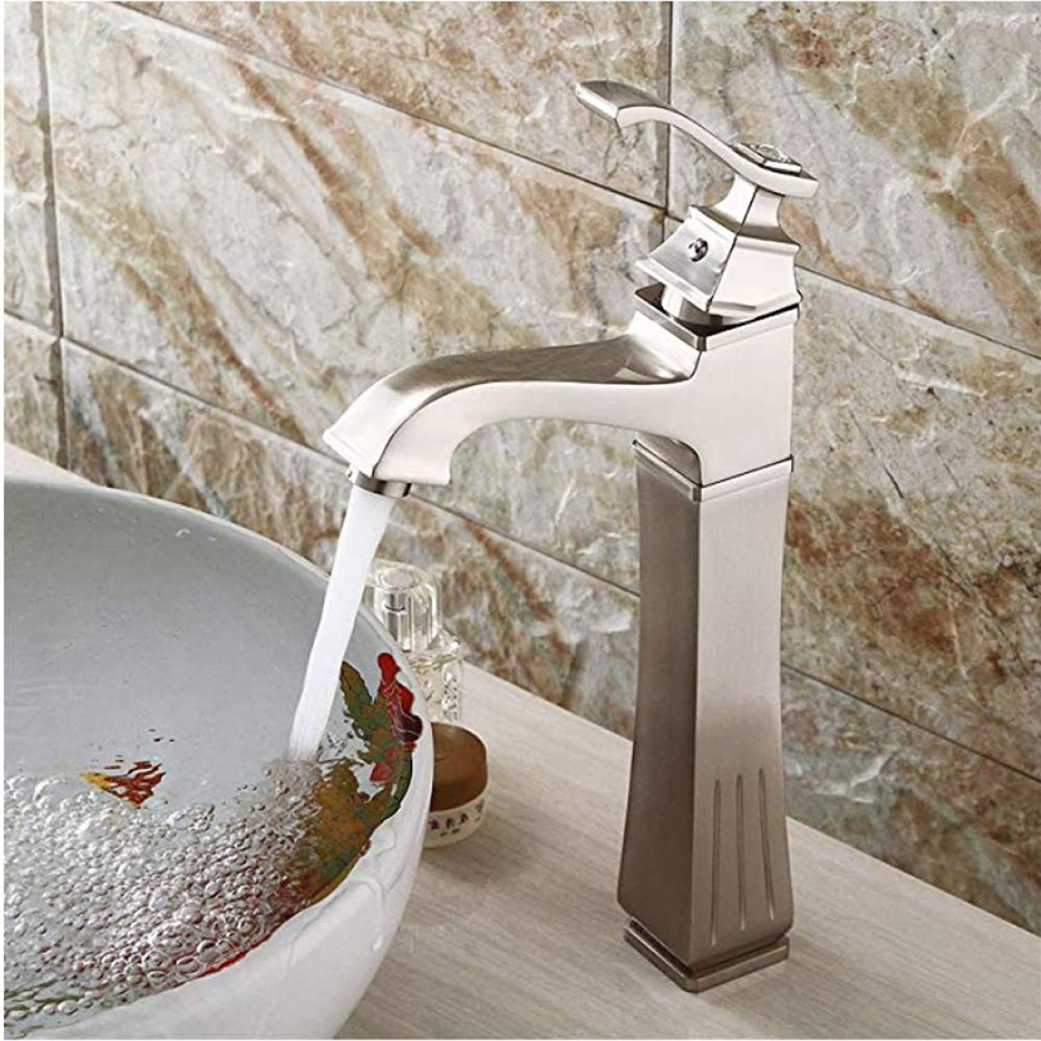 Honcx Faucet Taps Modern Bathroom Brushed Basin Faucet Bathroom Basin Faucet Bathroom Above Counter Basin Square Single Hole Faucet Hot and Cold Water