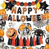 XIAOTING Partido decoración de Halloween Set, Feliz Halloween Cartas de la Bandera con la araña, Estrella de Cinco Puntas, Borla, Calabaza Fantasma Foil Balloon Letras del Globo de látex