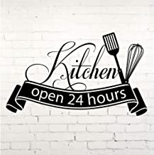 YYKFXL Ins Cuisine Wall Sticker Open 24 Hours Kitchen Cut Vinyl Decal Home Decor Kitchen Wall Tile Stickers 57x34cm