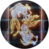 ADVPRO Koi Fish Tattoo Line Art Dual Color LED Neon Sign White & Yellow 16 x 24 Inches st6s46-i4074-wy
