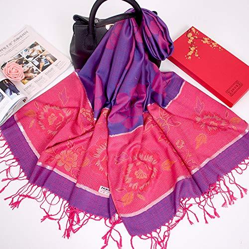 YUANMEI Automne Et Hiver Style Ethnique Châle Femme Gland Voyage Vacances Écharpe Jacquard Chaud,Rose Rouge Saphir Bleu, 190 Cm
