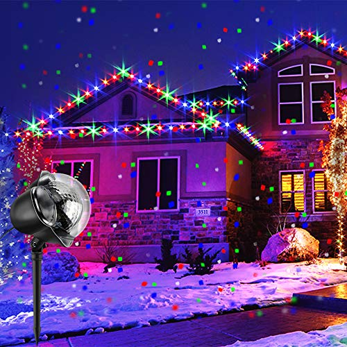 LED RGB Schneeflocke ProjektorLicht Wasserdicht Weihnachten Schneefall Projektor Leuchten mit drahtloser Fernbedienung und Timing Funktion für Außen und Innen Deko,Partys, Weinachten und Feiertage