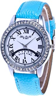 Razab1 Women Diamond Dial Faux Leather Band Analog Quartz Movement Watch