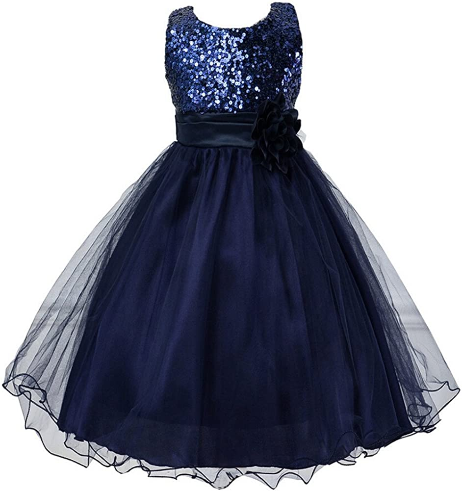 Girls Flower Sequin Princess Dress Bridesmaid Tutu Tulle Birthday Party Dress