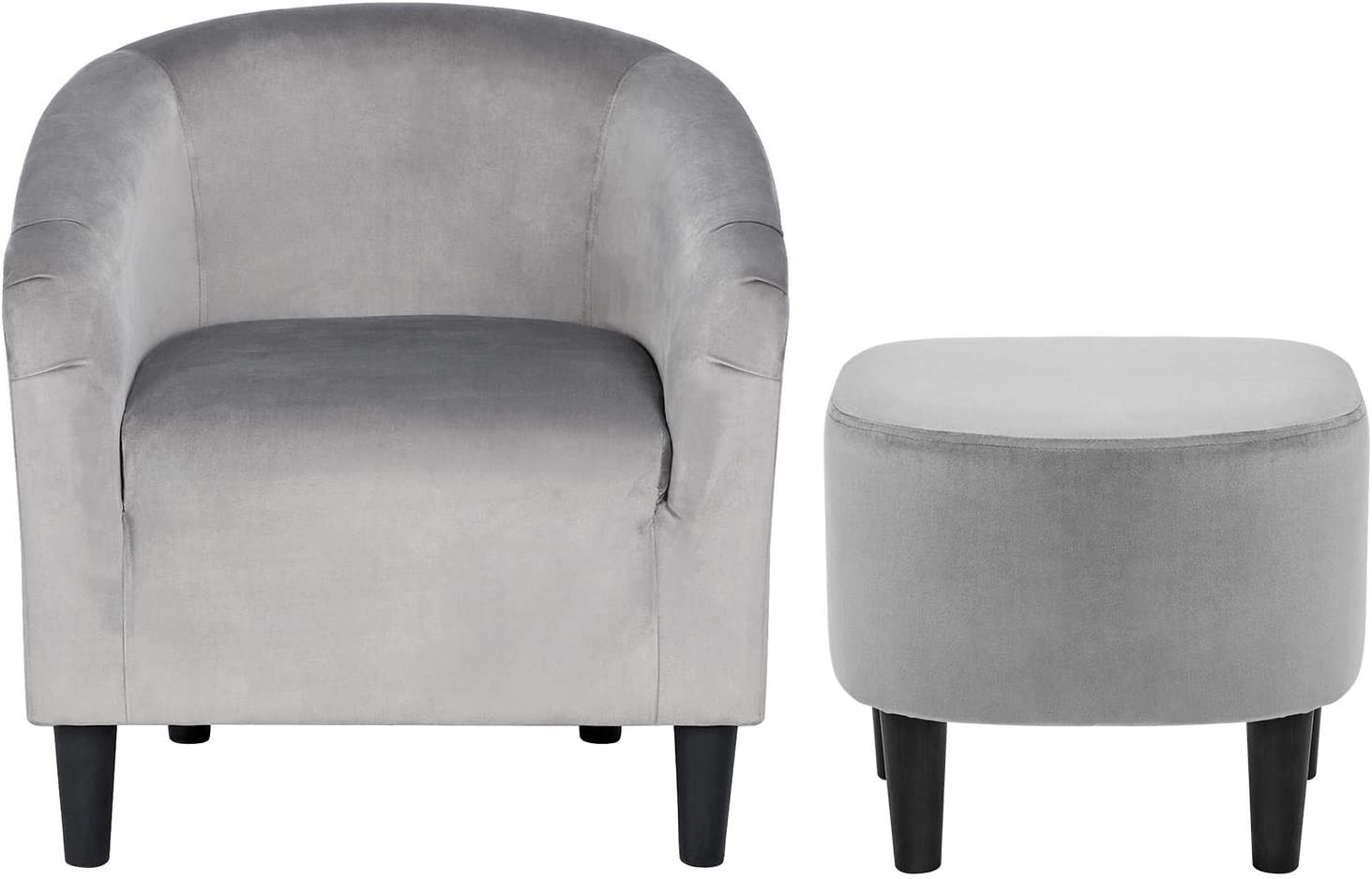YAHEETECH Contemporary Club Chair for Living Room Accent Arm Chair Tub Chair Upholstered Barrel Chair and Ottoman Set for Living Room Guestroom Bedroom : Home & Kitchen