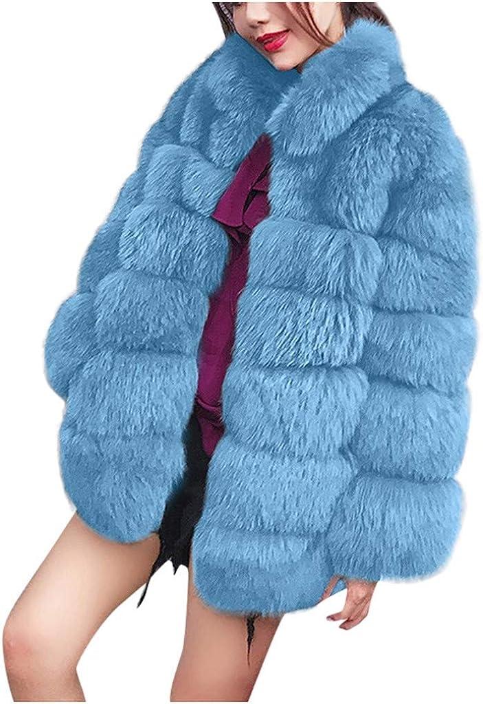 Jushye Women's Long Sleeve Overcoat Winter Warm Lapel Faux Fur P