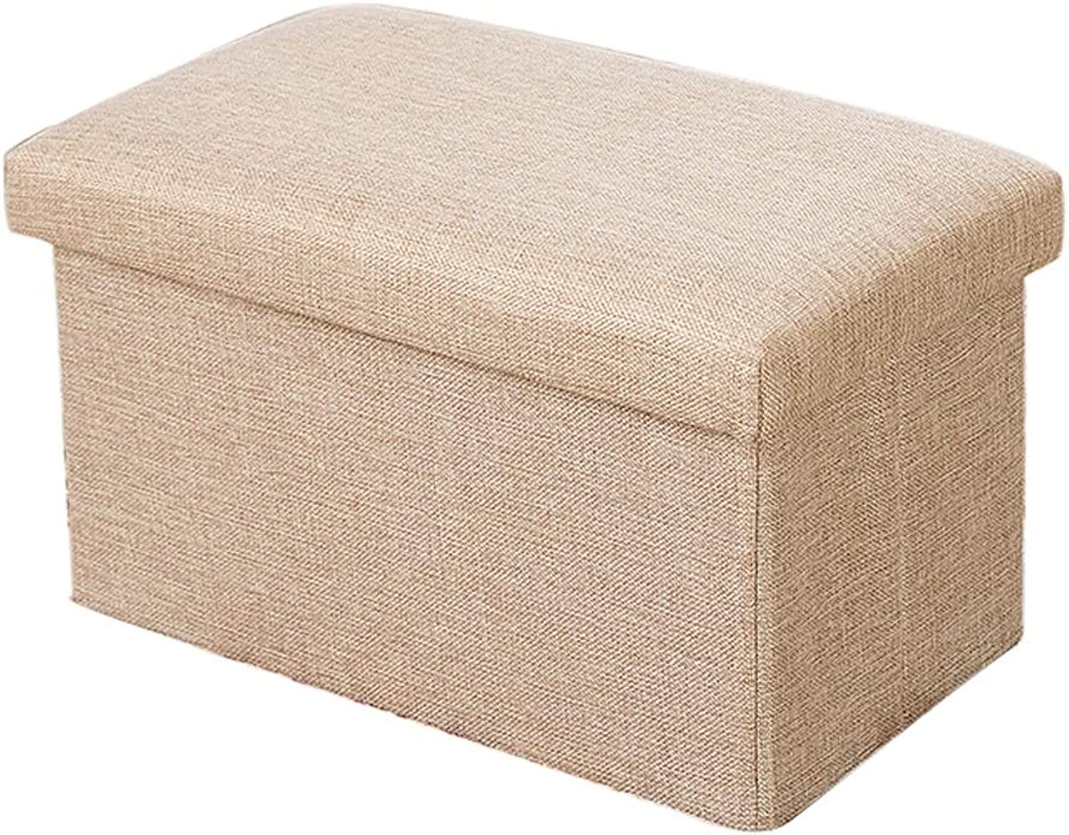Storage Stool - Home Multi-Function Fabric Storage Stool Multi-color and Multi-Special Optional Storage Stool Can Sit Can Be Stored Cotton Linen Box MENA UK (color   Khaki, Size   76  38  38CM)