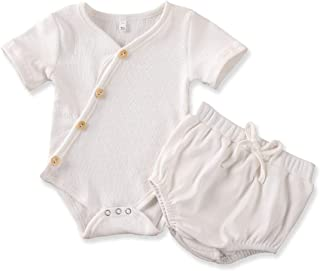 Newborn Baby Girls Boys Casual Clothes Short Sleeve Knitted Romper Button Bodysuit Shorts Pajamas 2Pcs Summer Outfits