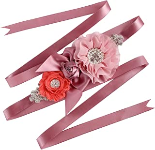 Wedding Flowergirls Sash Belt Bridal Dress Rhinestone Sash Bridesmaid Flowers Belts (Light Coral 07)