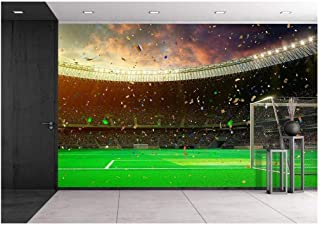 wall26 - Evening Stadium Arena Soccer Field Championship Win. Confetti and Tinsel Yellow Toning - Removable Wall Mural   Self-Adhesive Large Wallpaper - 100x144 inches