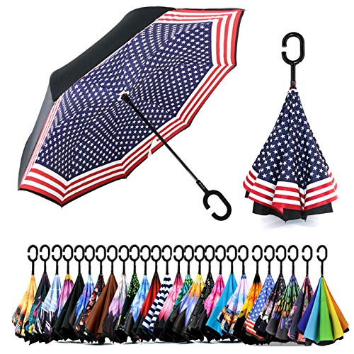 Spar. Saa Double Layer Inverted Umbrella with C-Shaped Handle, Anti-UV Waterproof Windproof Straight Umbrella for Car Rain Outdoor Use (American Flag)