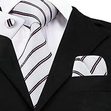 WOXHY Men's tie 2017 Fashion White Black Striped Tie Hanky Cufflinks Sets Men'S Silk Ties For Men Wedding Dating Groom Sn-647