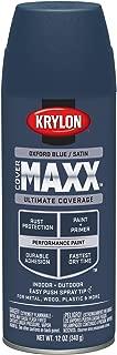 Krylon K09172000 COVERMAXX Spray Paint, Satin Oxford Blue, 12 Ounce
