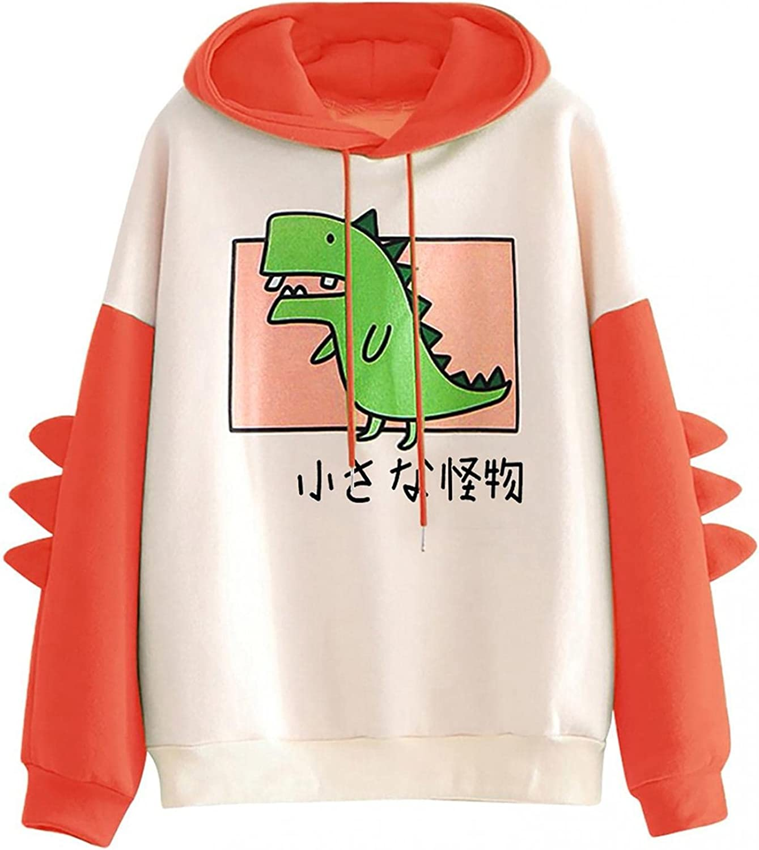 Women Sweatshirts,Women's Fashion Hoodies & Sweatshirts Plus Size Cartoon Dinosaur Graphic Lightweight Pullover