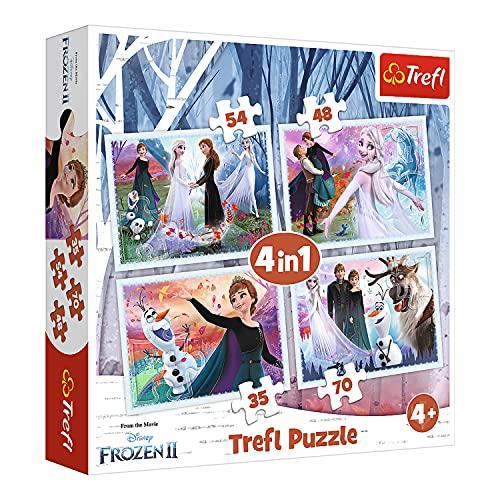 Trefl, Puzzle, Im magischen Wald, von 35 bis 70 Teilen, 4 Sets, Disney Frozen 2, für Kinder ab 4 Jahren