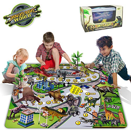 Dinosaurier Spielzeug Figur Aktivität Spielmatte mit Dinosaurier Autos, Würfel, Bäume, um eine Dinosaurier-Welt zu erstellen, pädagogisches Spielset Kinder, Jungen, Mädchen