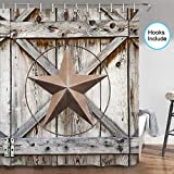 JAWO Western Texas Star Shower Curtain, Western Texas Star on Rustic Wooden Board Farmhouse Barn Door Bathroom Shower Curtain Set, Fabric Shower Curtain Hooks Include, 70 in
