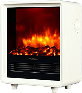 PuraFlame 12 Inches Octavia Portable Electric Fireplace Heater, 1500W, White