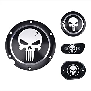 Frenshion Compatible for 1 Set CNC Aluminium Skull Clutch Timing Cover Derby Timer Cover Air Cleaner Covers Motorcycle Accessories for Harley Davidson Iron XL883 72