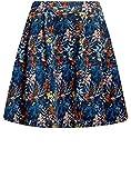 oodji Ultra Mujer Falda de Punto con Pliegues, Azul, ES 40 / M