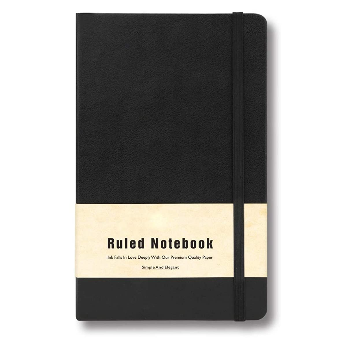 Tadamo Journal, Leather Journal for Men and Women, Ruled, Black Softcover A5 Business Notebooks, 192 Pages 80GSM 5.6 by 8.6 Inches, Professional Writing Journals with Pocket