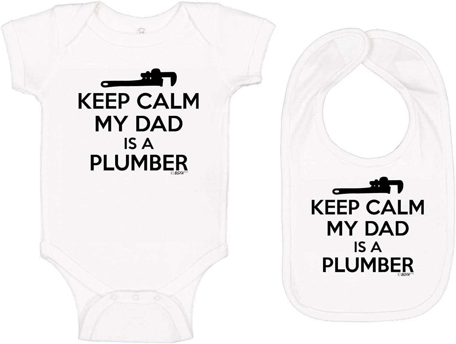 Baby Gifts For All Keep Calm My Dad is A Plumber Dad Gifts Baby Bodysuit Bib Bundle