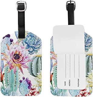 ALAZA Cactus Flower Luggage Tag for Baggage Suitcase Bag Leather 1 Piece