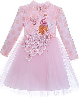 Girls Chinese Cheongsam Tutu Dresses Retro Embroidery Princess Dresses for Age 3-10T