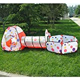 Tech Traders soft play Indoor-Outdoor Play Tunnel and Play Tent Cubby-Tube-Teepee 3 In 1 Playground for Children Baby Kids Toddler Pop Up Ball Play Pit Pool [BALLS NOT INCLUDED]