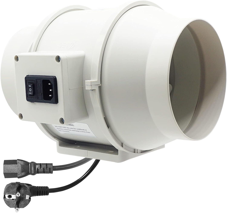 Moonjor Extractor de Aire 100mm Máx.198m³/h con Enchufe IEC de 2-Velocidades, Enchufe de la EU, Ventilador de Conducto para baño, Tienda de Cultivo, Hidroponía - Blanco