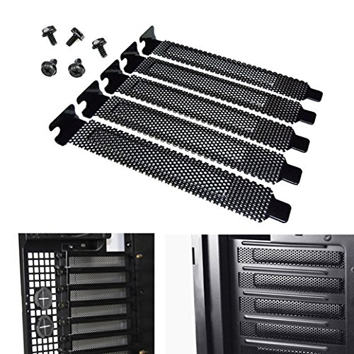 5pcs Black PCI Slot Cover Dust Filter Blanking Plate Hard Steel with Screw