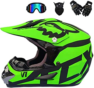 Motocross Helmet Set with Gloves Mask Goggles, Road Helmet Kit Motorcycle Helmet Cross Helmets Hard Hat ATV Helmet with Removable Earmuffs