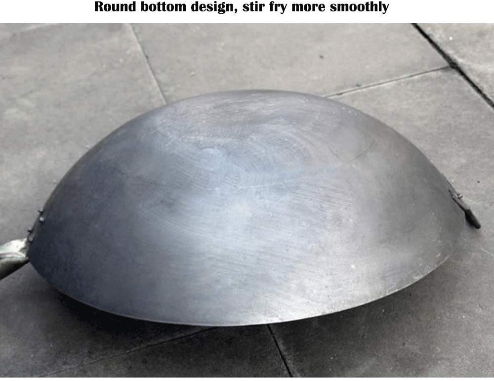 LIUSHI Poêle binaurale Traditionnelle en Fonte Non revêtue Poêle antiadhésive Wok pour la Cuisine adaptée pour cuisinière à gaz 36 cm-75 cm 50 cm 42cm