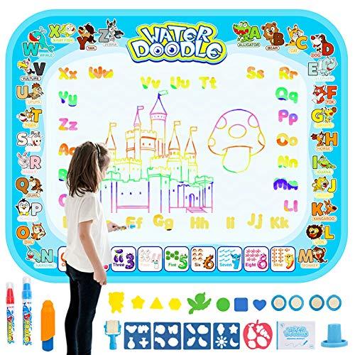 HonShoop Water Drawing Mat, Aqua Magic Doodle Mat, Large Coloring Mat, Xmas Gift for Toddlers Boys/Girls (40x31.5inches)